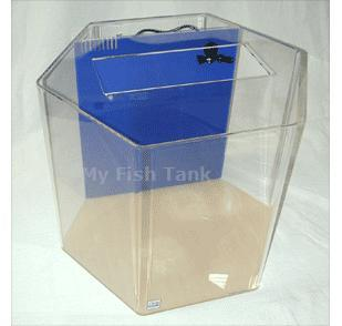 <p>35 gallon Hexagon UniQuarium with built-in filter includes pump, light hood, fluorescent light fixture and lifetime warranty.