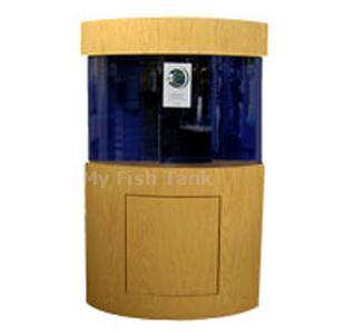 "<p>LS Oak Quadra Stand is 30"" tall with curved front panel. Premium Oak veneer. Inset doors with hidden hinges and spring loaded magnetic latches. Tank insets into stand 1-1/2"". Stand accomidates a pie-shaped tank whose back panels are 24"" long and at right