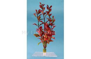 Red Ludwigia - 18 in.  Fantastic Water Wonders plants are beautiful aquatic plant replicas and in turn will provide a natural, safe and lush paradise for your fish. Durable plastic plants with gravel held shoe to minimize floating.