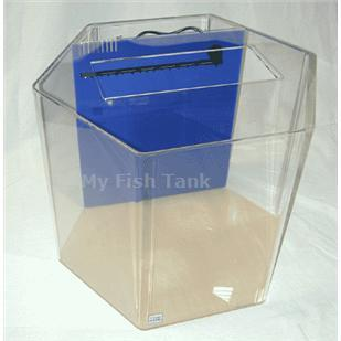 <p>55 gallon Hexagon Seahorse tank with built-in filter system, includes light hood, fixture and a Coralife 50/50 bulb and 150 watt heater. Modified specifically for seahorses. Tank measures 25 inches from one flat panel to the oppossing flat panel, and is