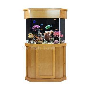 "<p>Laguna Pine Pentagon Cabinet Stands are 30"" tall. Solid pine door trim and molding with pine veneer top and sides. Fluted columns and LARGE overlay doors with self-closing hinges. Tank insets into midband skirt 1-1/2"". Stained and sealed finish. Sizes listed